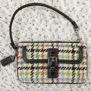 Coach Wool Plaid Wristlet in Colorful Fall Shades